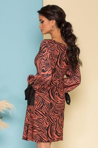 Rochie Sienna maro cu print zebra