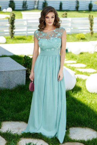 Rochie Sienna verde lunga cu dantela si broderie la bust