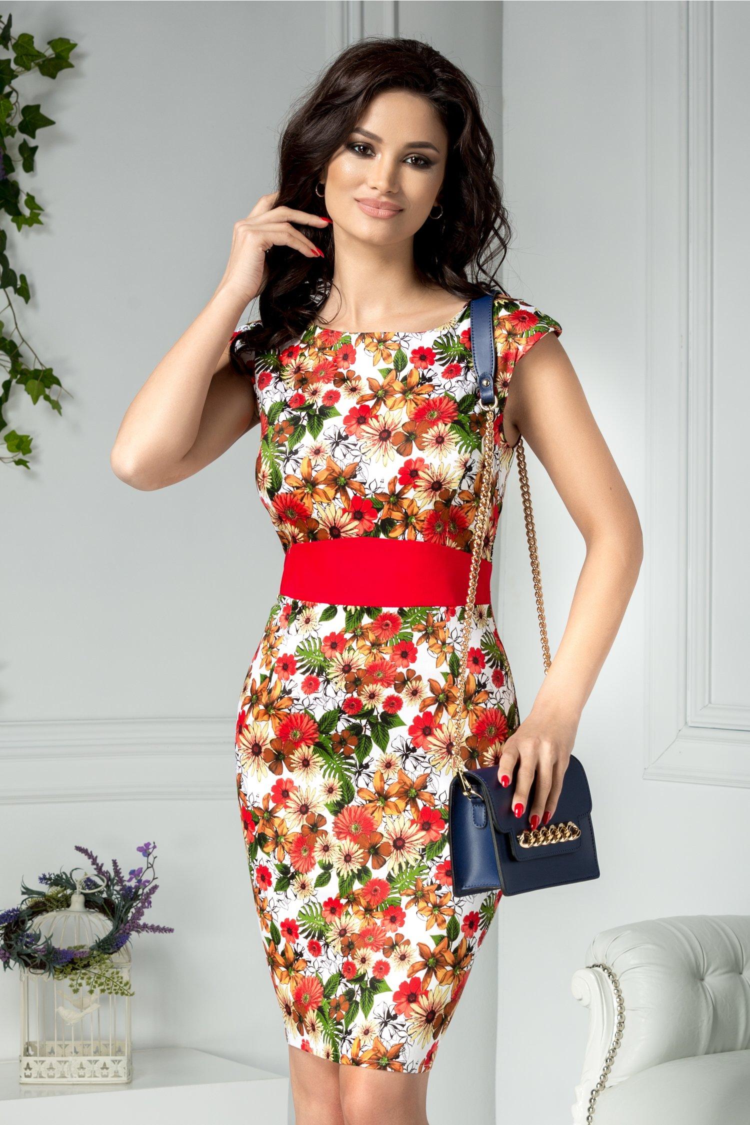 Rochie Silio alba cu imprimeu floral rosu