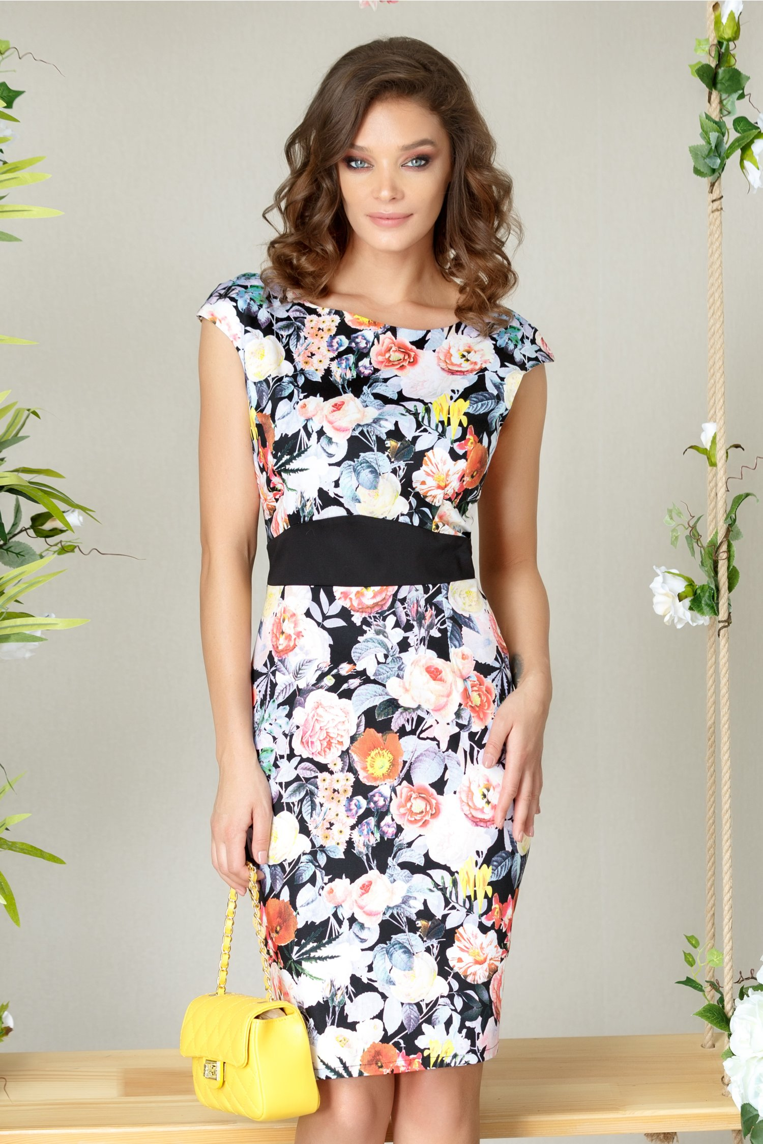 Rochie Silio neagra office cu flori oranj midi