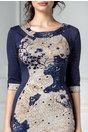 Rochie Siluette bleumarin cu imprimeu floral maro