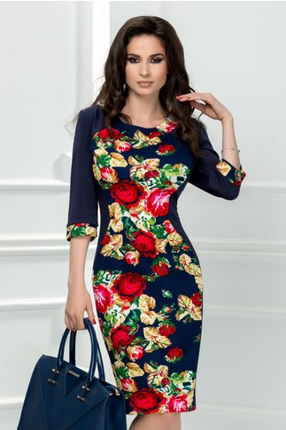 Rochie Siluette bleumarin cu trandafir rosu galben