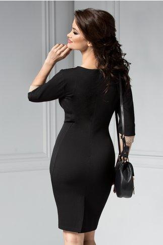 Rochie Siluette midi negru cu bej eleganta