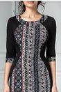 Rochie Siluette neagra cu mozaic rosu