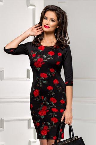 Rochie Siluette neagra cu trandafiri rosii