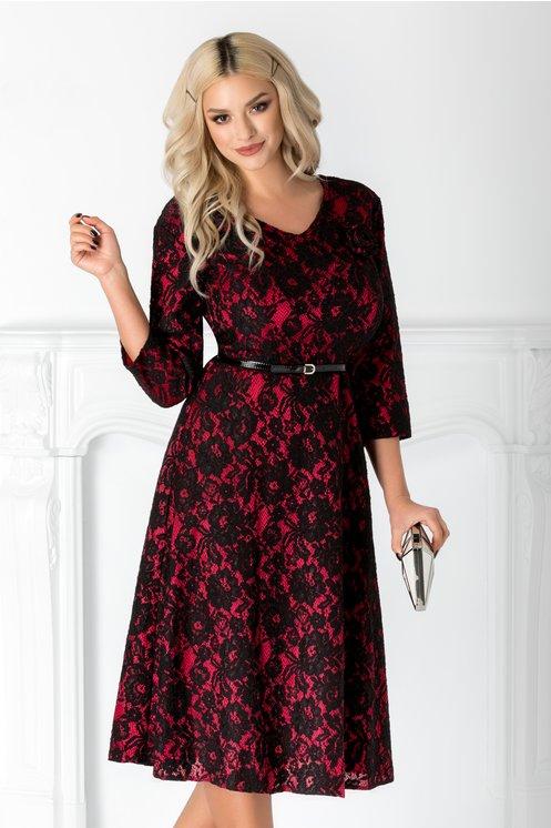 Rochie Silvie rosu cu negru din dantela