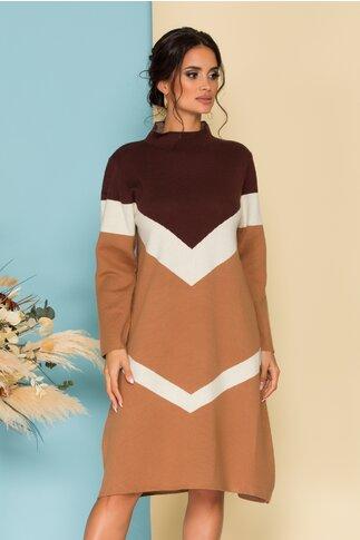 Rochie Sima maro casual din tricot