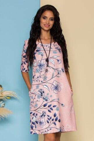 Rochie Simi roz cu imprimeuri florale bleumarin