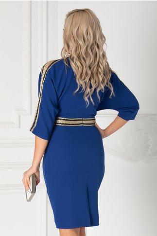 Rochie Simina albastra cu aplicatii tip plasa