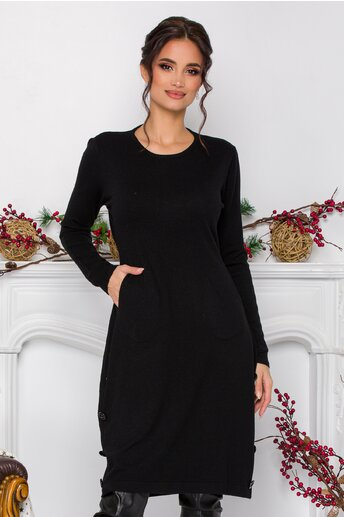 Rochie Simina neagra din tricot cu nasturi decorativi la baza