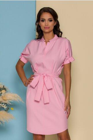 Rochie Simina roz lejera cu pliuri la maneci