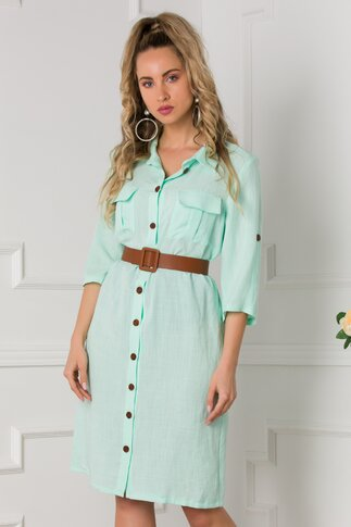 Rochie Simina tip camasa verde mint