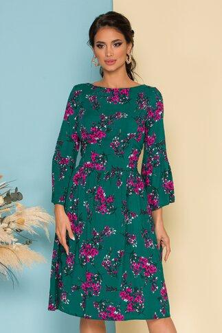 Rochie Simina verde cu imprimeuri florale roz