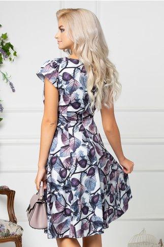 Rochie Simine alba de zi cu imprimeuri gri si violet