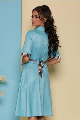 Rochie Simona bleu cu capse la bust