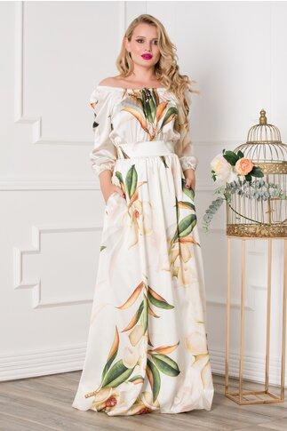 Rochie Simona lunga ivory cu imprimeuri florale