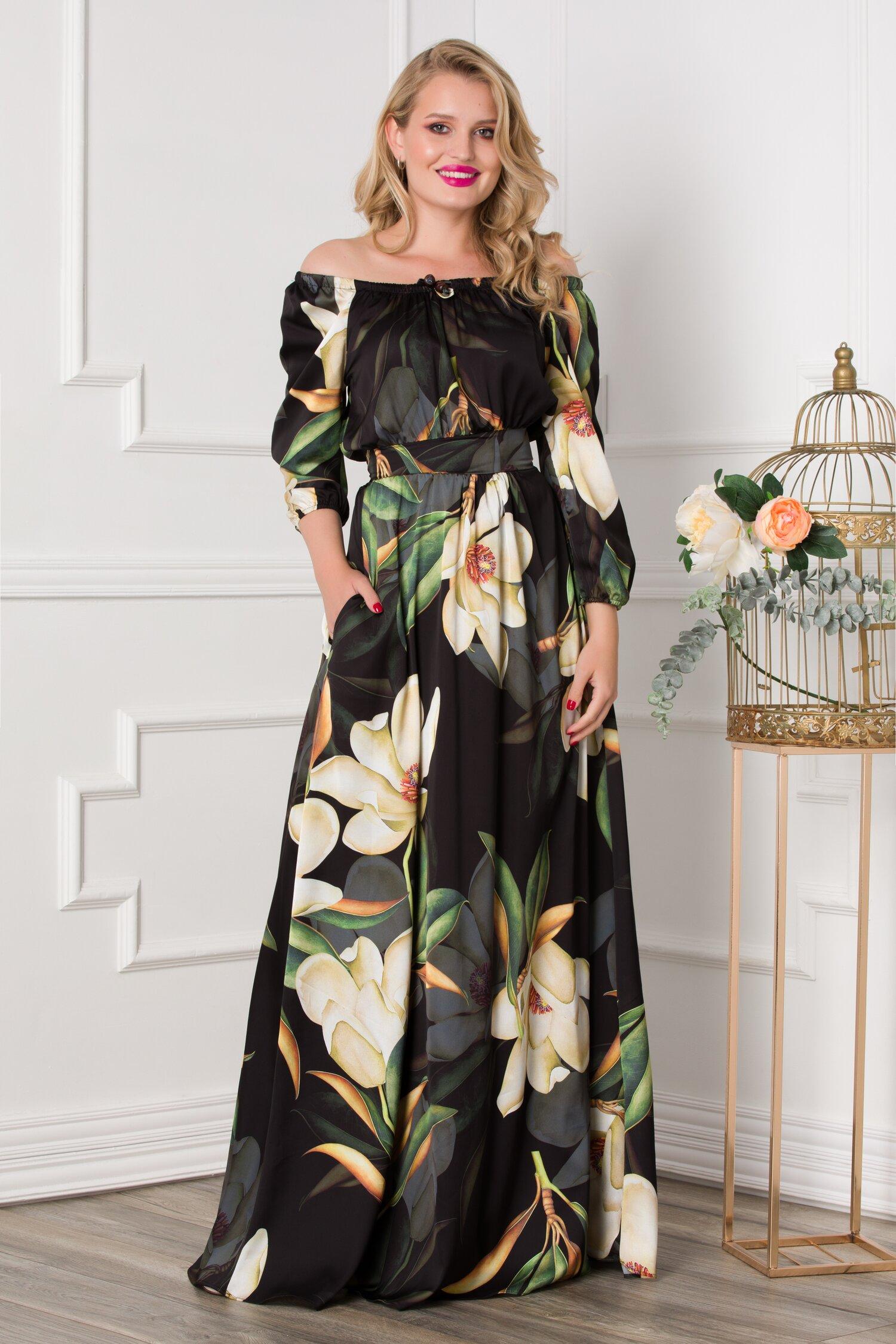 Rochie Simona lunga neagra cu imprimeuri florale