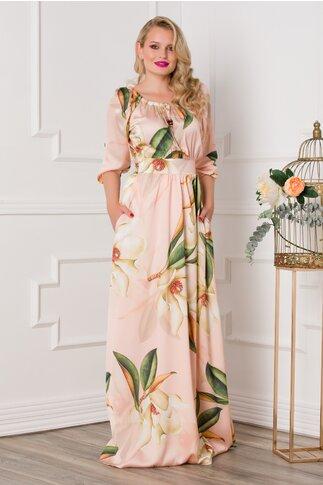 Rochie Simona lunga roz cu imprimeuri florale