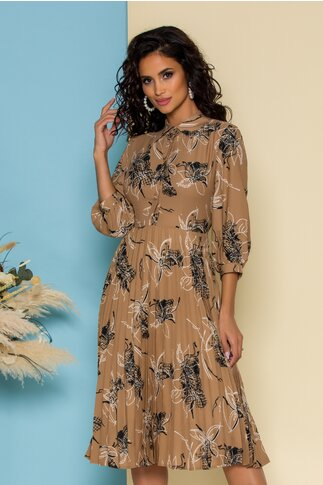 Rochie Sira maro cu imprimeuri florale si fusta plisata