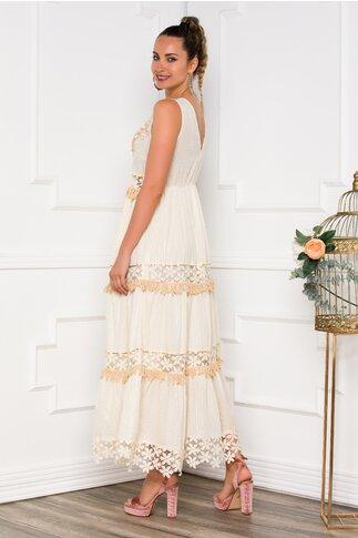 Rochie Smaranda beige lunga accesorizata cu broderie si margelute in zona bustului