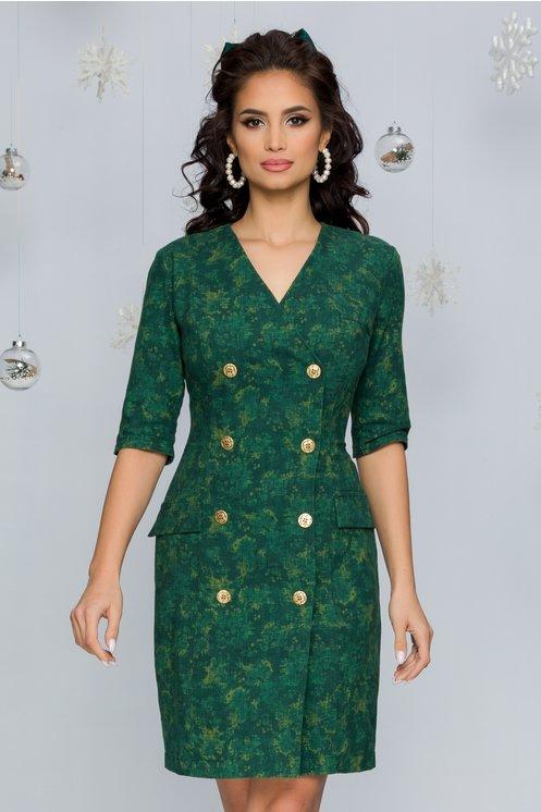 Rochie Sondey verde tip sacou cu nasturi aurii decorativi