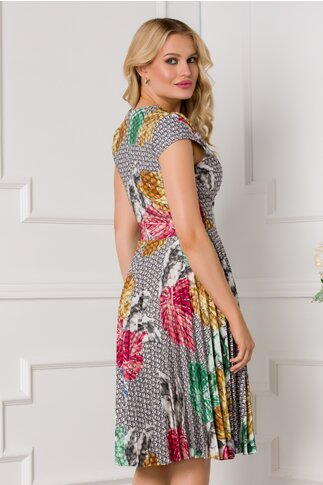 Rochie Sonia gri cu imprimeu exotic colorat