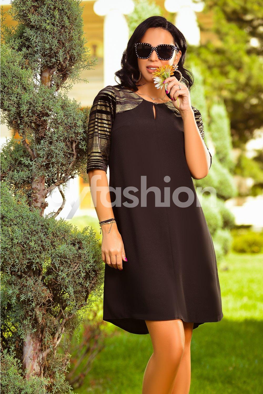 Magazin Online Haine - Rochie Sonia Neagra cu Insertii Aurii -Fashion-4u.Eu