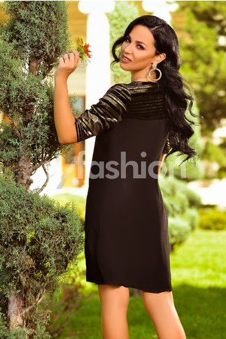 Rochie Sonia Neagra cu Insertii Aurii