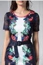 Rochie Sonya bleumarin cu imprimeu colorat