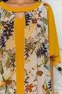 Rochie Sophia galben mustar cu imprimeu floral