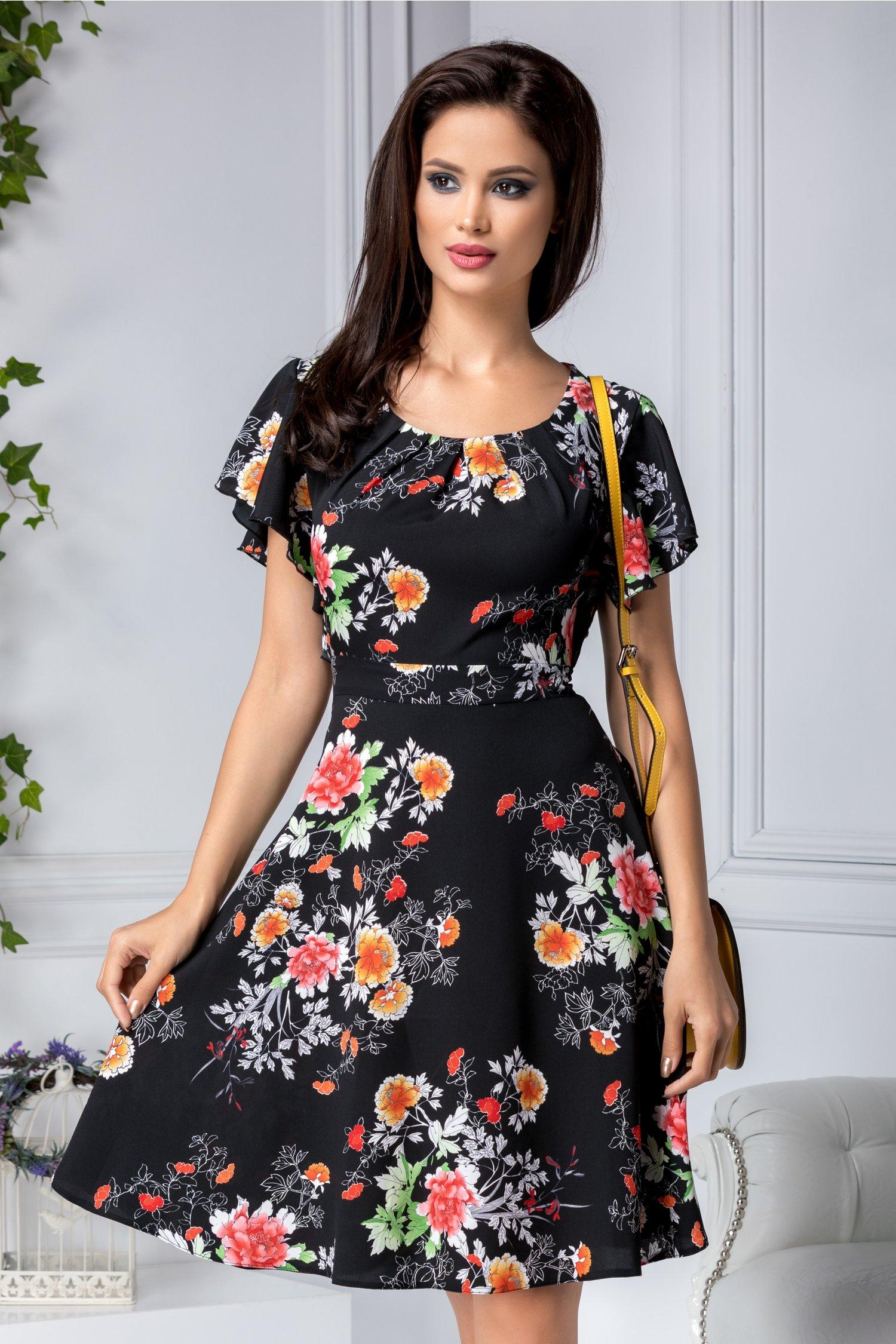 Rochie Sorana neagra cu imprimeu floral colorat