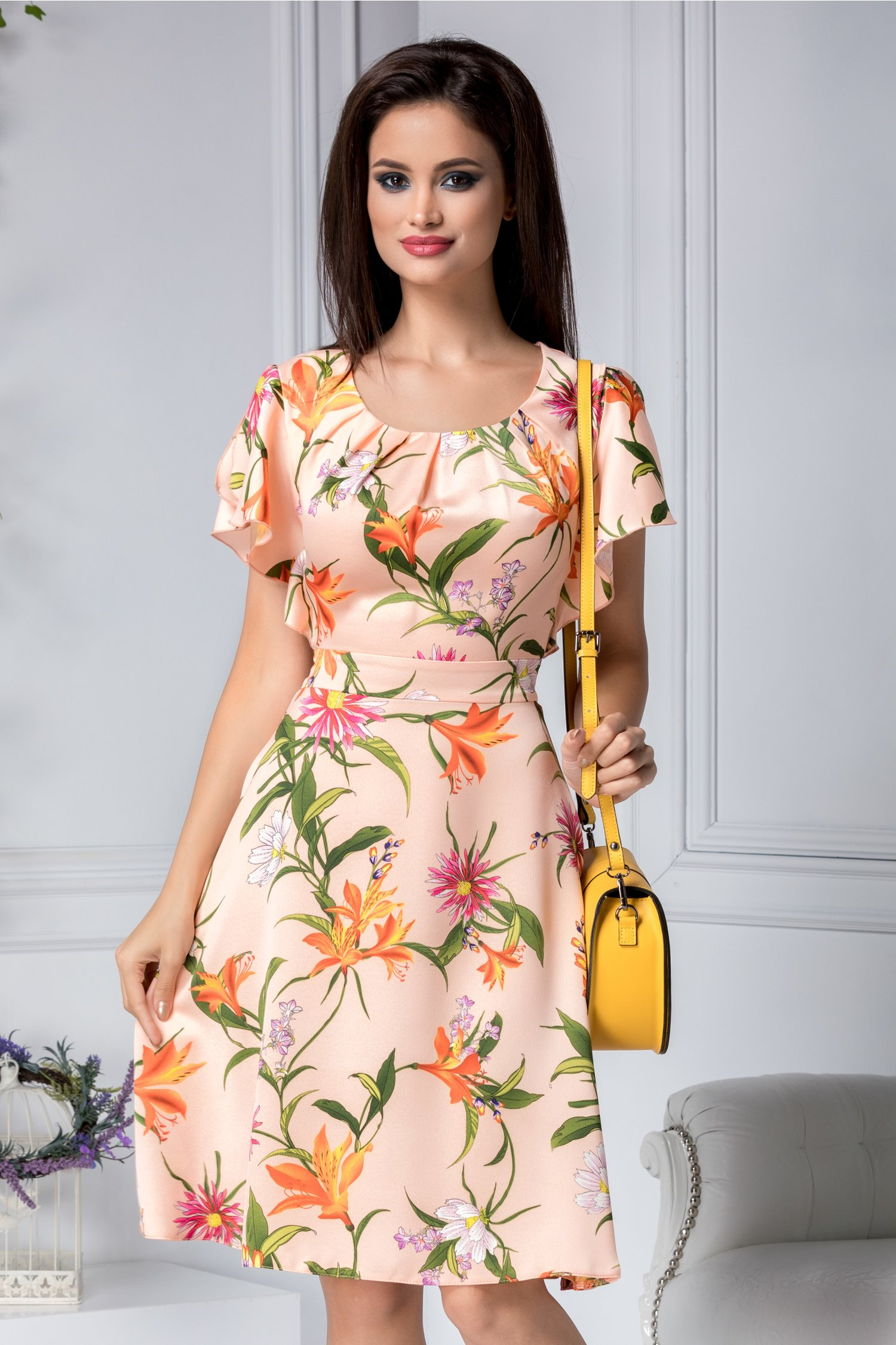 Rochie Sorana somon cu imprimeu floral orange
