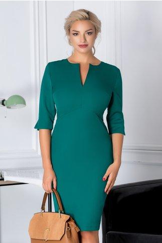 Rochie Soraya verde cu decolteu despicat