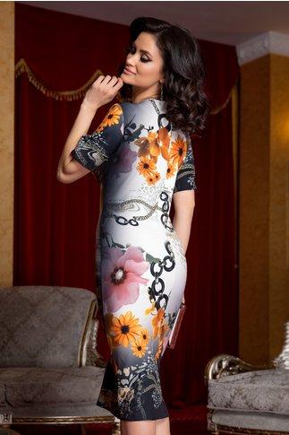 Rochie Sore cu flori oranj si imprimeu divers