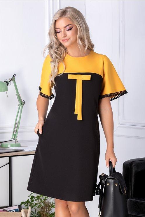 Rochie Sore galben si negru cu fundita la bust