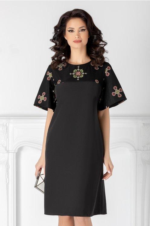 Rochie Sore neagra cu tul brodat traditional