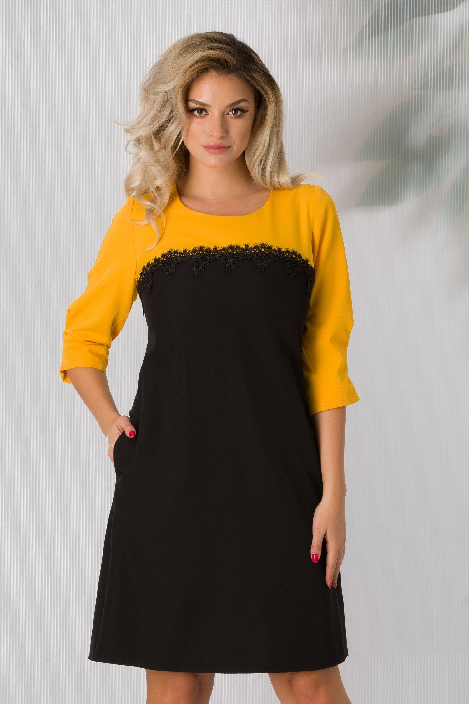 Rochie Sorina galben cu negru si dantela la bust