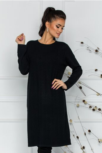 Rochie Sorina neagra cu textura striata
