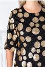 Rochie Sory neagra cu buline din paiete aurii