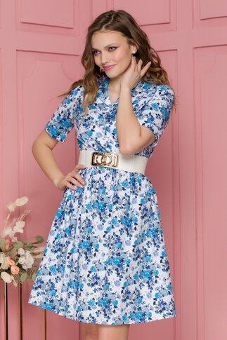 Rochie Spring alba cu imprimeu floral albastru