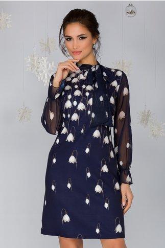 Rochie Spring bleumarin cu imprimeu floral