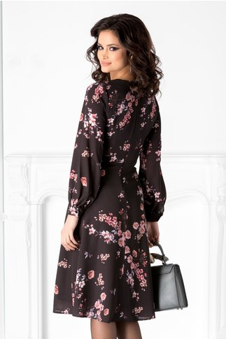 Rochie Spring neagra cu flori roz