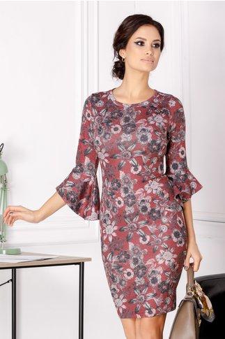 Rochie Stefania conica bordo cu imprimeu floral gri