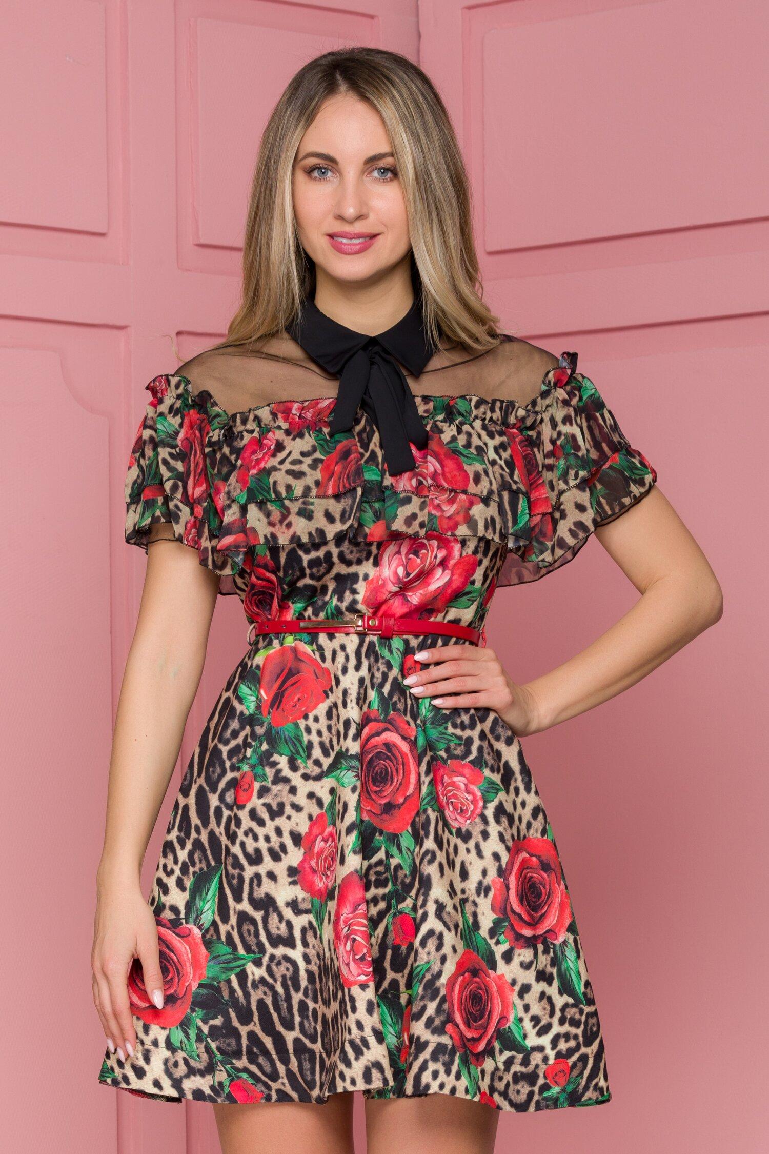 Rochie Stefania cu animal print si trandafiri maxi