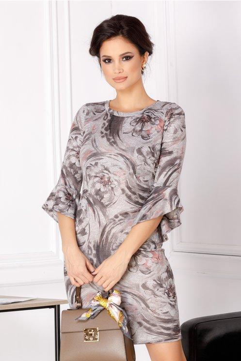 Rochie Stefania gri cu imprimeu floral maro