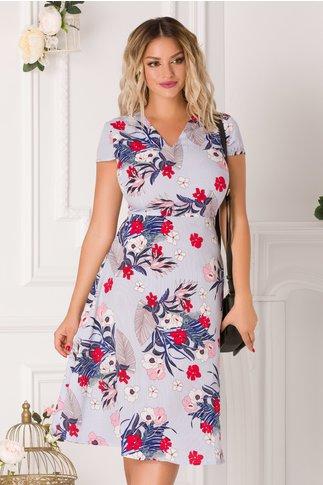 Rochie Stephany bleu cu imprimeu floral