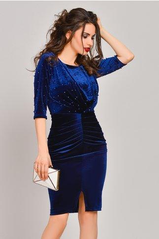 Rochie Stylish bleumarin din catifea cu perle