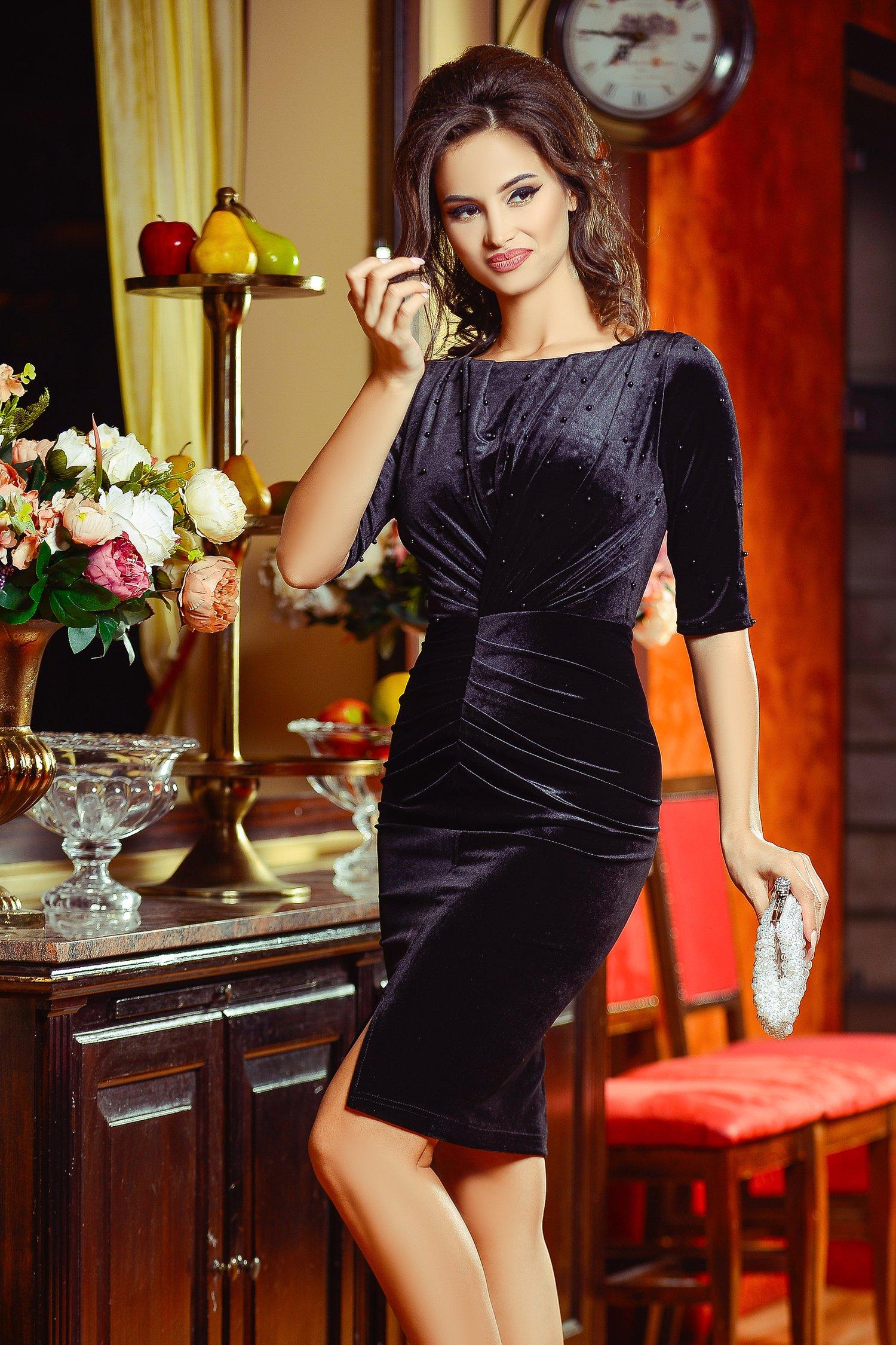 Rochie Stylish Neagra din Catifea Eleganta