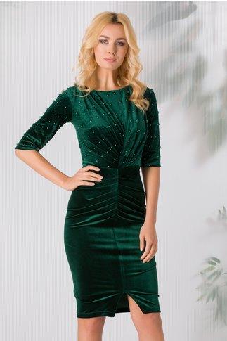 Rochie Stylish verde din catifea cu perle