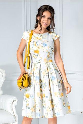 Rochie Summer bleu de zi din bumbac cu flori oranj